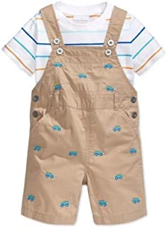 First Impressions Baby Boys' 2-Piece Tee & Cars Shortalls Set Quarry Rock