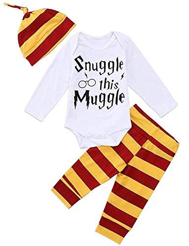 Ropa de bebé niño niña acurruca Este Muggle de Manga Larga 3 Piezas Trajes Mameluco pantalón Sombrero, Traje de Manga Larga