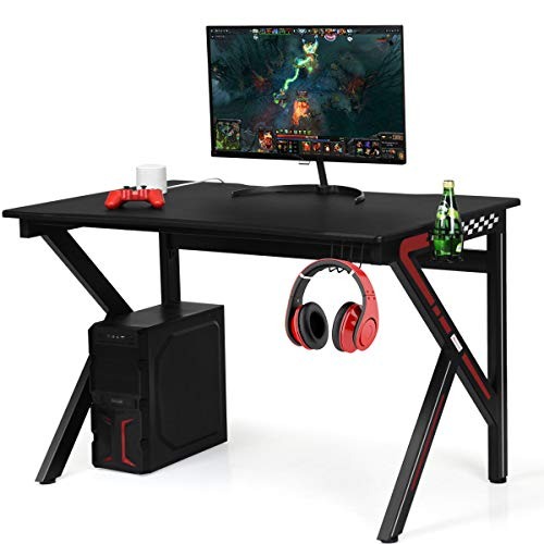 Giantex Gaming Desk, E-Sports Computer Desk Table with Large Ergonomic Surface and Heavy Duty Construction for Home or Office, Gaming PC Desk Table (Black with Cup Holder)