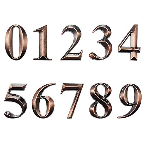Lot de 20 autocollants 3D pour boîte aux lettres de 0 à 9, petits chiffres de 0 à 9, 5 cm pour porte, maison, rue ou adresse (cuivre)