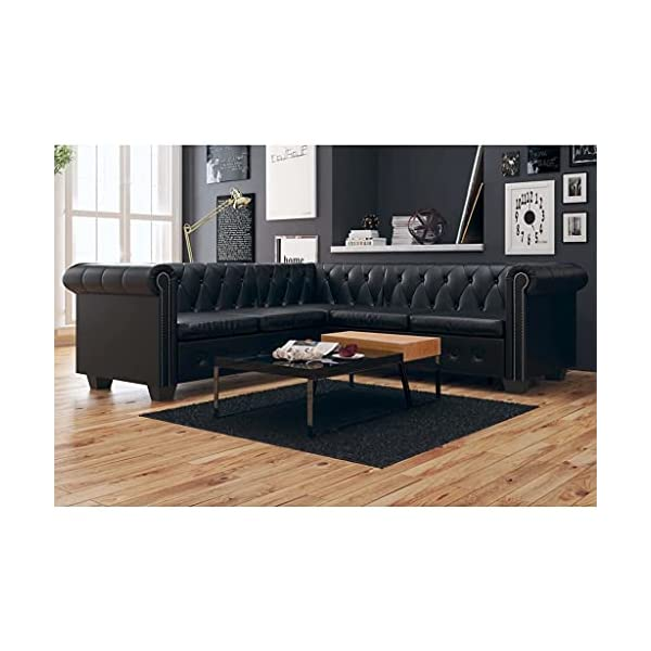 L Shaped Chesterfield Corner Black Sofa Couch 1