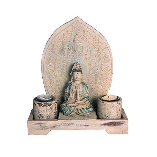 Discount Etnico - Kuan Yin Foglia Due Candele Misura 26 x 24 x 8 cm