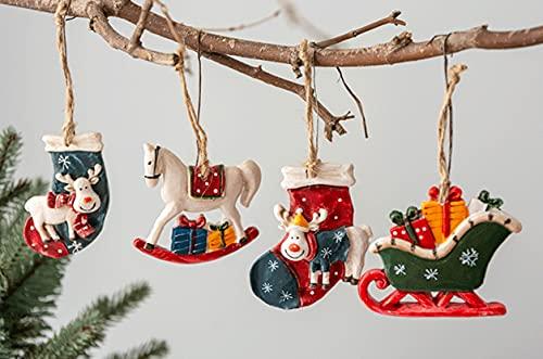 HIL 4PCS Ciondolo in Resina di Natale Decorazione Dell'albero di Natale Dipinta Palline di Natale retrò Addobbi per L'Albero di Natale Ciondolo Albero di Natale Decorazione di Atmosfera Festosa
