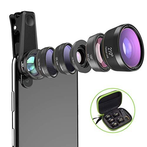 WANGOFUN Telefoon Camera Lens 6 in 1 Kit met Reistas En Stevig Zachte Clip 2X Telefoon, 210 Graden Visoog, 15X Macro, 120 Graden Wijde Hoek, CPL, Ster Filter Lens