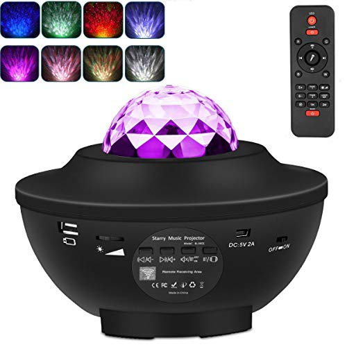 Night Light Projector, Galaxy Star Light Projector 3 in 1 with LED Nebula Cloud Remote Control and Built-in Music Player Ocean Wave Star Projector for Bedroom/ Game Rooms/ Party/Holiday