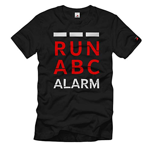 Run ABC Alarm Bundeswehr Gasmaske Fun T-Shirt #35524, Größe:5XL, Farbe:Schwarz