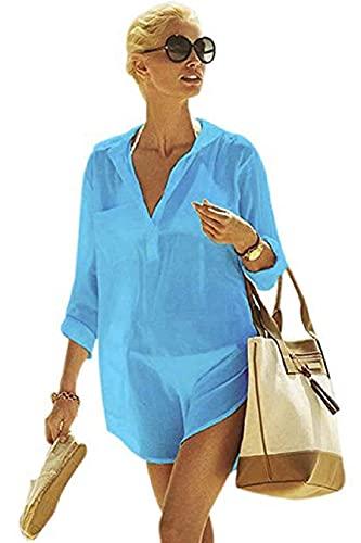 Tuopuda Poncho de Playa para Mujer Vestido Suelto de Bikini Tallas Grandes Mujer de Manga Manga 3/4 Algodón con Cuello en V Ropa de Playa Traje de baño Bikini Cubierta Ups Vestidos(Azul Claro,)