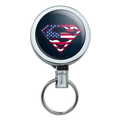 Superman USA American Flag Shield Logo Heavy Duty Metal Retractable Reel ID Badge Key Card Tag Holder with Belt Clip