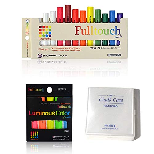 Hagoromo Fulltouch 10-Color Mix Chalk 12pcs + HAGOROMO Fulltouch Luminous (5 Colors) 5 pcs(Mix) + Chalk Case