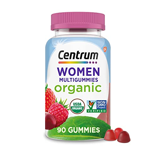 Centrum Women's Organic Multigummies Women's Multivitamin Gummies Organic Multivitamin for Women with Essential Nutrients for Immune Support, Metabolism, and Hair Skin and Nails Vitamins - 90 Ct