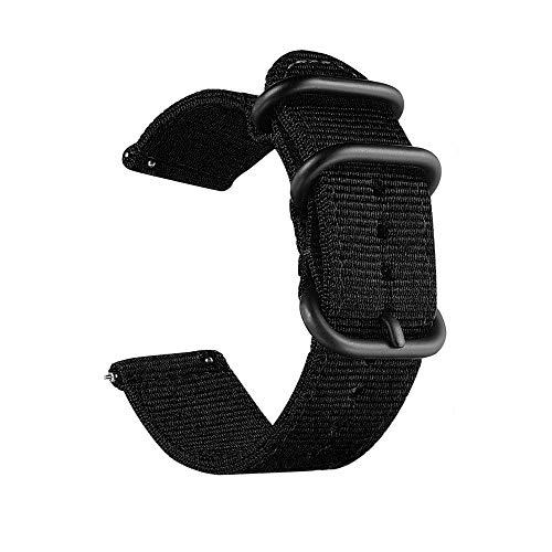 CNYMANY 20mm Universal Ballistic Uhrenarmband, Nylon Canvas Woven Loop Ersatzband Armband Schnallenverschluss Verstellbarer Verschluss für Smart-Watch Sport Fitness Tracker - Schwarz