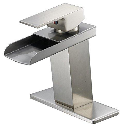 Bathlavish Waterfall Bathroom Sink Faucet Brushed Nickel Vanity Single Handle One Hole Basin Modern Lavatory Faucet Commercial Deck Mount