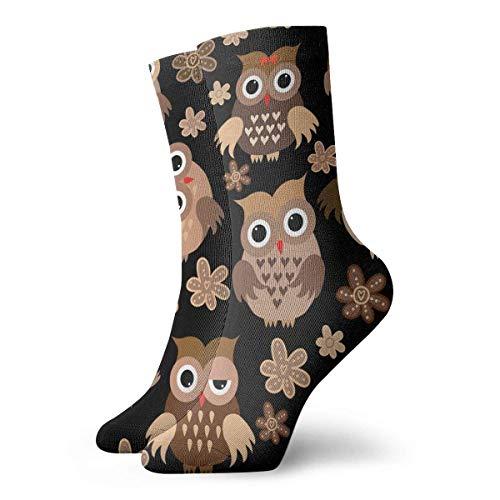 Unisex Socken Eule in verschiedenen Formen, atmungsaktiv, Fantasie, Knöchel, Laufen, Wandern, Wochenende, Sport, Athletische Socken, kurze Crew-Socken, 30 cm