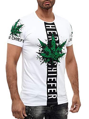 Herren Rundhals T-Shirt Weed Marihuana Design Cannabis Hanf Print, Farben:Weiß, Größe T-Shirt:S