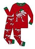 Family Feeling Little Girls Boys Long Sleeve Christmas Pajamas Sets 100% Cotton Holiday Pyjamas Toddler Kids Pjs Red Size 4T Dinosaur