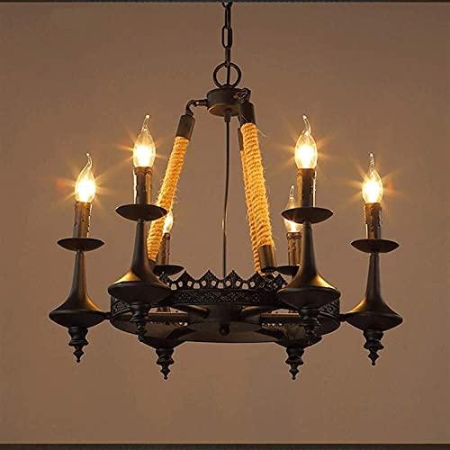 Auoeer Araña Americano Retro cáñamo lámpara de Techo lámpara Colgante Simple nostálgico Restaurante Bar cafetería Oficina Forjado Hierro Negro 6 Bulbo 53 * 53 * 55 cm