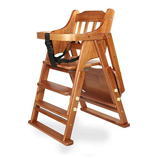 Trona de madera, trona para bebés y niños pequeños, ajustable, plegable, para niños y niñas de 6 meses a 4 años (Chair cushion Universal wheel)
