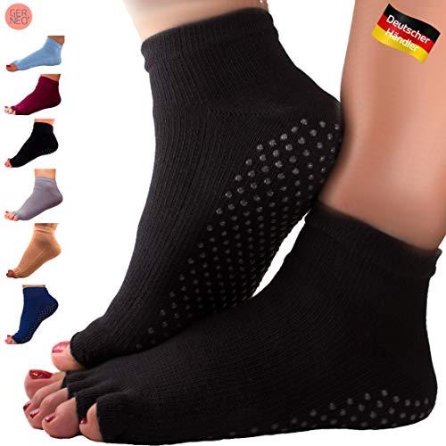 GERNEO® - DAS ORIGINAL - Premium Yoga Socken offen - zehenfreie Füsslinge - schwarz
