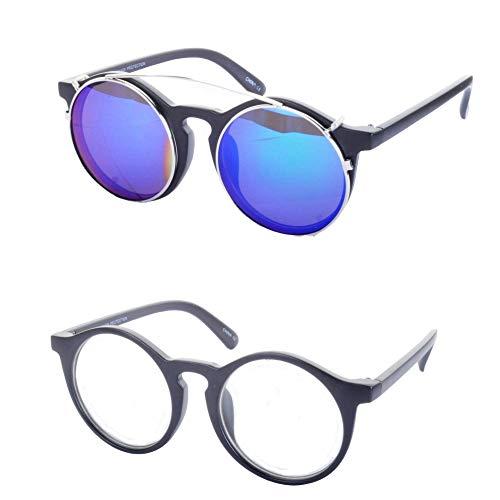 Minimum Mouse Maxwell Abnehmbare Gläser Runde Sonnenbrille - Schwarz Rahmen/Blaue Linsen, One Size