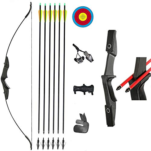 "TOPARCHERY Archery 57"" Takedown Youth Recurve Bow and Arrow Set Long Bow Kit with 6pcs Fiberglass Arrows for Beginner Teenagers Right Left Hand Black - Draw Weight 20lbs- 40lbs (40)"