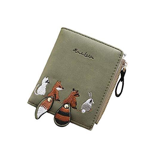 Bordado de la Carpeta Portable Puro Estilo de la Tarjeta de Bolsillo Plegable Corto Monedero Mini Animales patrón de la Bolsa para la Mujer