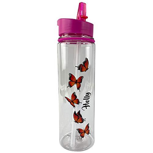 Personalised Plastic Drinks Water Bottle Orange Butterfly (800ml) (Pink)