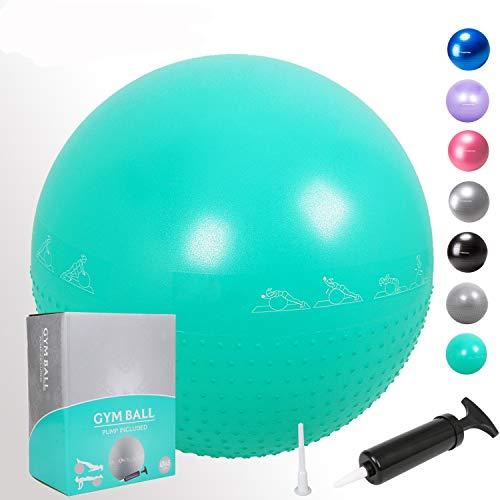 GYMBOPRO Gymnastikball 25cm/55cm/65cm/75cm, Yoga Ball Fitnessball mit Pumpa für Yoga, Pilates, Fitness, Balance Ball für Core Strength (Grün, 65cm)