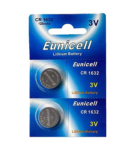 Eunicell 2 x CR1632 3V Lithium Knopfzelle 120 mAh (1 Blistercard a 2 Batterien) EINWEG Markenware