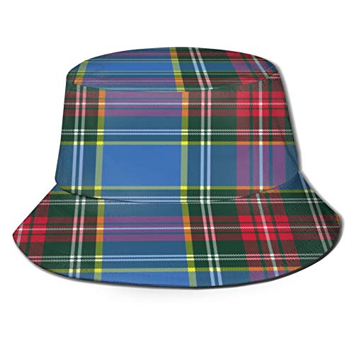Unisex Bucket Sun Hats Macbeth Tartan Kilt Fabric Textile Pattern Fashion Summer Outdoor Travel Beach Fisherman Cap