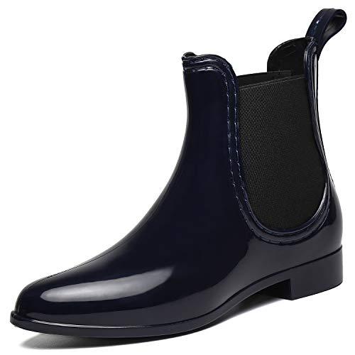 SAGUARO® Damen Kurzschaft Stiefel Gummistiefel Gummistiefeletten Regenstiefel Chelsea Boots,Blau - 39 EU