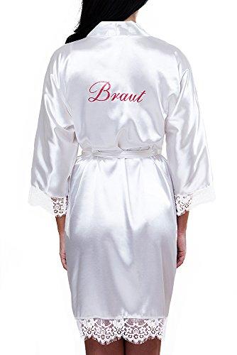 VA-Fashion Damen Morgenmantel Kimono Satin Spitze kurz Größen S-XXL (XL, Weiß/Braut)