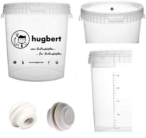 HUGBERT Aktion Set 2, Gärbehälter 33L mit Skala 2 Dichtgummi Wine Bier