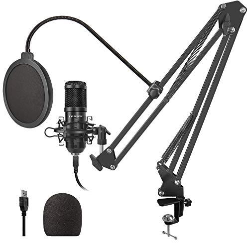 TAWAPYZ Micrófono de Condensador Kit, USB Micrófono Profesional (192kHz/24bit) con Soporte de Micrófono Brazo de Tijera para Grabar Música y Vídeos Podcast Transmisión en Vivo Juegos