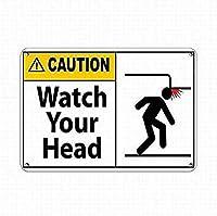 ストックフォト-品質の金属錫看板は、注意してくださいヘッドサインを警告します