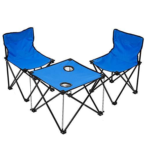 Vlook 3-teiliges Set Camping Tisch Stühle Set, mit 2 Getränkehalter, tragbar faltbar, stabil und langlebig, für Strand, Grill, Gartenparty, Outdoor-Konzert