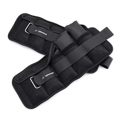 Inhomest Adjustable Ankle Weights 1-5 LBS Pair with Removable Weight, Leg/Arm/Wrist Weight Set for Jogging, Gymnastics, Physical Therapy, Resistance Training|0.5-2.5 lbs Each Pack, 2 Pack, Black