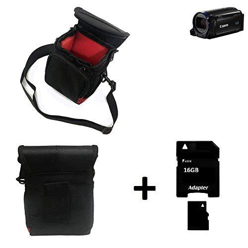 K-S-Trade® Kameratasche Fototasche Umhängetasche Schutz Hülle Für Canon Legria HF R68 Mit Zusatzfach Und Teilbaren Innenraum Mit Trennwand + 16 GB Memorycard