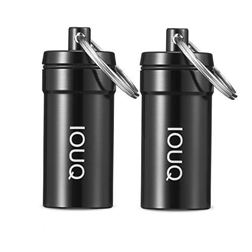Iouq - Contenitore per erbe e spezie, a prova di odore e impermeabile, confezione da 2 (piccolo, nero)