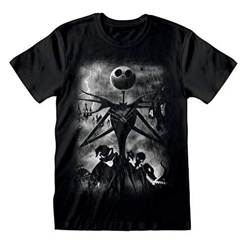 Heren De Nachtmerrie Voor Kerstmis Stormy Skies Zwart T-Shirt - Disney Tee