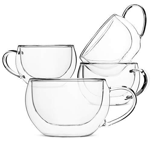 BTaT- Insulated Espresso Cups, Glass Tea Cups, Set of 4 (6 oz, 180 ml), Glass Coffee Mugs, Espresso Cups, Double Wall Glass Cups, Latte Cups, Tea Glasses, Latte Mug, Clear Coffee Cup, Espresso Glass