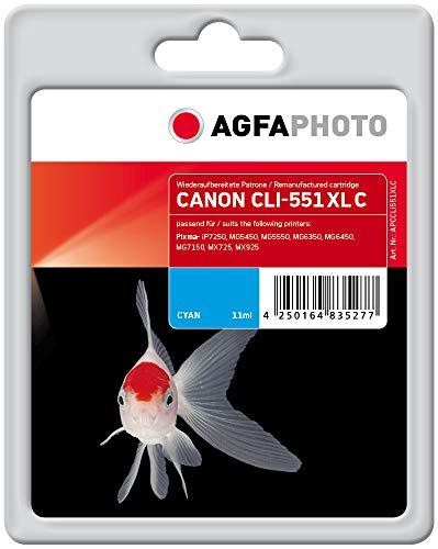 AgfaPhoto APCCLI551XLC CLI-551 XL C Druckerpatrone für Canon, cyan