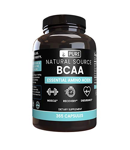 BCAA (365 Capsules) 2:1:1 Ratio, Naturally Sourced, Filler-Free, Paleo & Keto Friendly, Made in USA (1500 mg Serving)