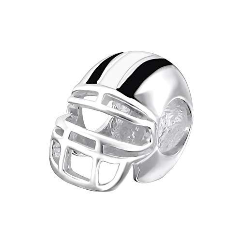 Charm-Anhänger American Football Helm, Sterling-Silber 925, für europäische Charm-Armbänder