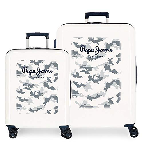 Pepe Jeans Joe Juego de maletas Beige 55/70 cms Rígida ABS Cierre TSA integrado 119,4L 6 kgs 4 Ruedas Dobles Equipaje de Mano