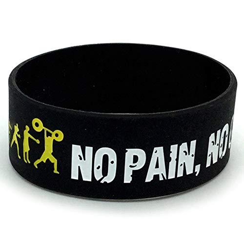 Fuyamp Everybody Fit No Pain No Gain Silikon-Armband, breites Band, Motto Gummi-Armbänder, Armreif, Geschenk (schwarz)