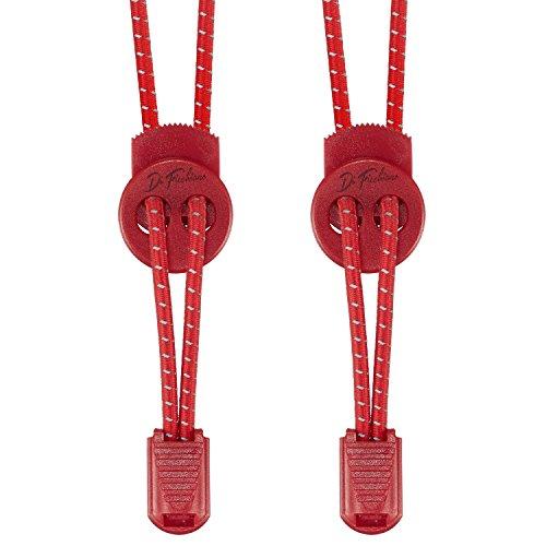 Di Ficchiano DF-Elastic-red Premium Schnellschnürsystem/elastische Schnürsenkel (1 Paar) für Sneaker, Sport- und Freizeitschuhe