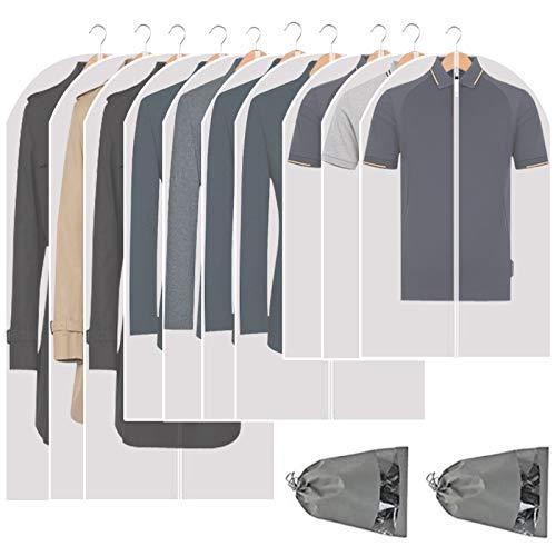 Perber - Sacchetti per indumenti da appendere, trasparenti, confezione da 10 pezzi, leggeri, antipolvere, con cerniera completa, per riporre armadi e viaggi, 60 x 80 x 100 x 100 cm, confezione da 10
