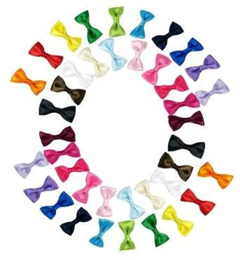 Bow Tie, HipGirl 20 Pairs Ribbon Applique Embellishment for Crafts, Christmas Cards, Scrapbooks, Wedding Invitations, Baby Showers-1.25