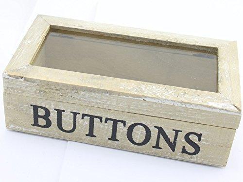 Gisela Graham Home opbergknoppen natuurlijke houten doos glas scharnierend deksel