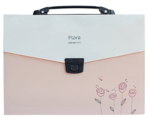 Shuter Accordion Expanding File Folder, 13-Pockets,A4 Size, Handle and Tabs, Buckle Closure (Pink)